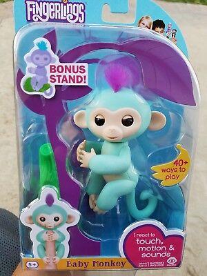Fingerlings Interactive Baby Monkey Toy Zoe Turquoise Wowwee