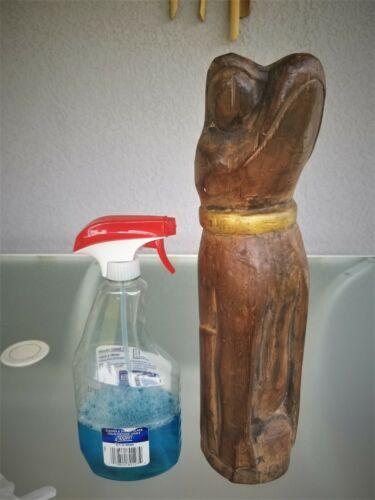 "Wooden Frog Totem Statue Wood Carving Carved Log Froggy 15 7/8"""
