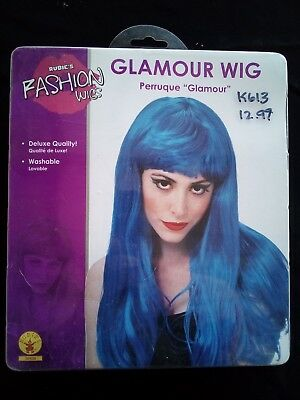 Glamour Wig long straight fashion hair synthetic dressup stage costume Blue - Glamour Wig