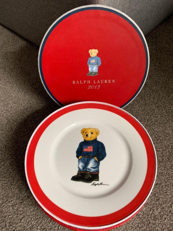 4 Pc 2013 Ralph Lauren USA Flag Sweater Bear Porcelain Dessert Plates New In Box