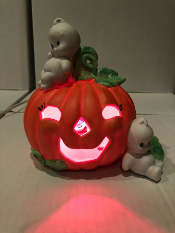 Vintage ENESCO Halloween Baby Boo With Pumpkin Night Light With Box 1989 Works!