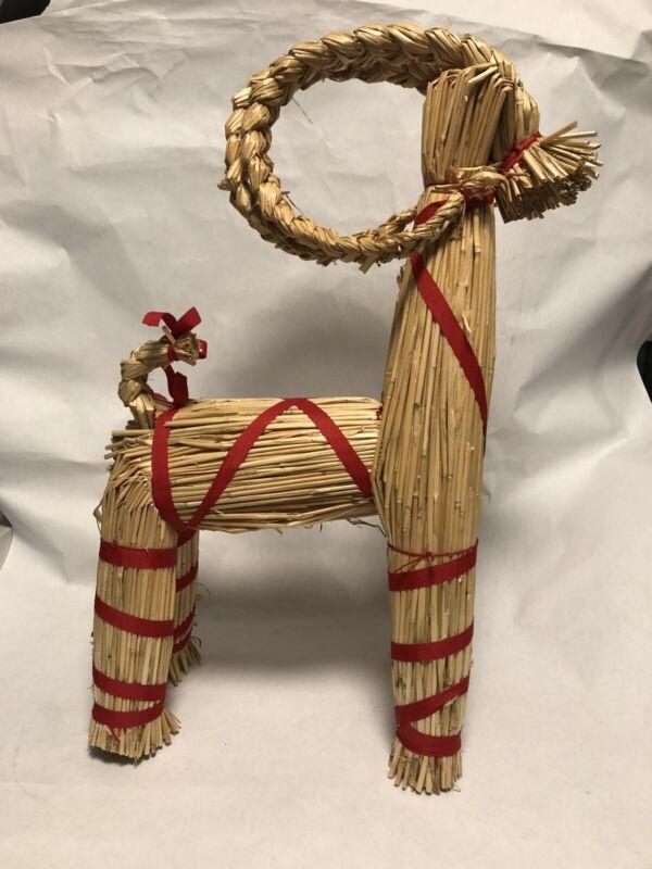 "Vintage Large Handmade Swedish Straw Goat Julbock Christmas 21"" Tall RARE"