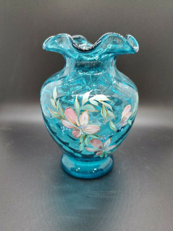 "Fenton Art glass Ocean Blue 6.5"" Hand Painted Vase By D Robinson"