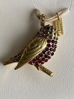 Joanna Buchanan Red Rhinestone Gold Tone Red Robin Bird Ornament New