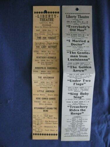 Liberty Theatre Lakeview MI Ad Program Ticket Flyer early 1900