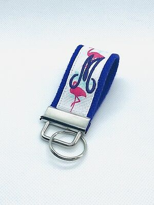 Mini Key Fob/ Flamingo/ Monogram/ Personalized: Wristlet/ Pink/ Purple](Personalized Keys)