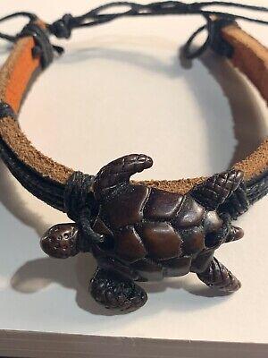 Leather Carved Tourquoise Turtle Wood Bead Bracelet BoHo Leather Carved Wood