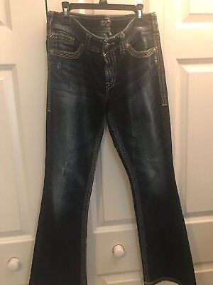 Silver Women's Suki Surplus Boot Cut Distress Flap Med Wash Blue Jeans Sz 29x30