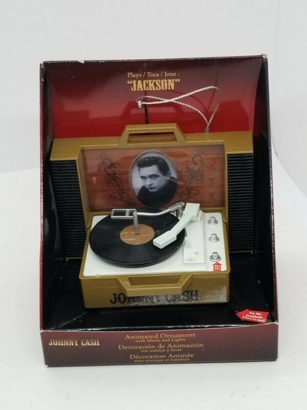 "Johnny Cash Record Player ""Jackson"" Light Up Animated Musical Xmas Ornament New"