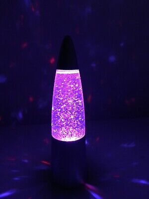 "NEW LED Multicolor Sparkle Party Lava Lamp 6"" Motion Activated - Silver"