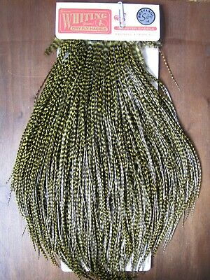 Fly Tying Whiting Silver Rooster Saddle White dyed Golden Olive #C Angelsport-Köder, -Futtermittel & -Fliegen