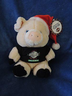 HARLEY DAVIDSON PLUSH CHRISTMAS BROWN HOG PIG XMAS TAGS