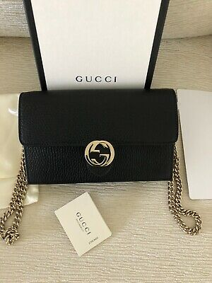 New Gucci Authentic Interlocking Bag Black Small Handbag Leather Purse Women