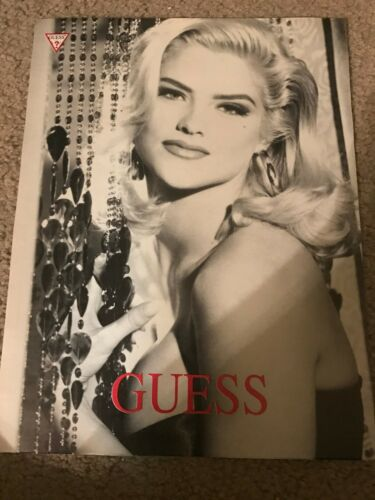 Vintage 1992 ANNA NICOLE SMITH GUESS Poster Print Ad 1990s RARE