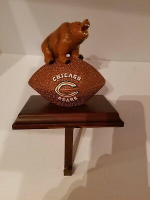 Chicago Bears Stocking Hanger Holder Football Christmas Ornament (Football Christmas Stocking)