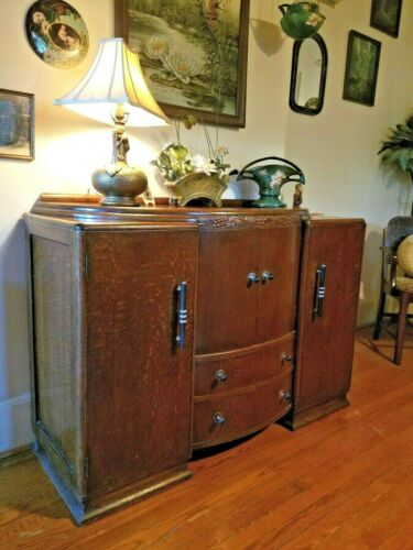 Antique 1920 English Art Deco Carved Oak Curved Front Sideboard Buffet Drink Bar