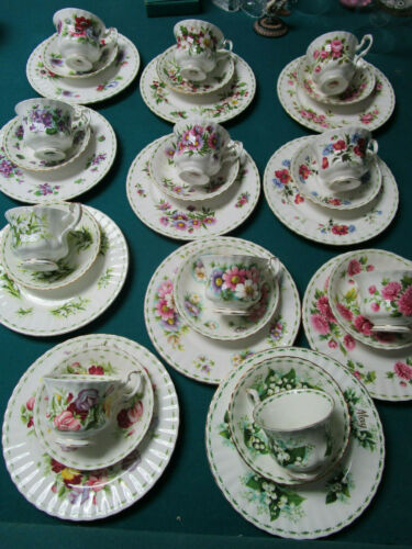 ROYAL ALBERT TRIO CUPS SAUCER PLATE FLOWER OF THE MONTH PICK ONE