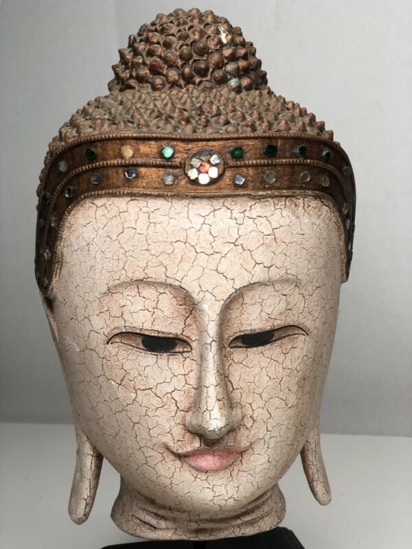 ANTIQUE WOOD  BUDDHA HEAD