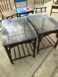 Glass top cane side tables