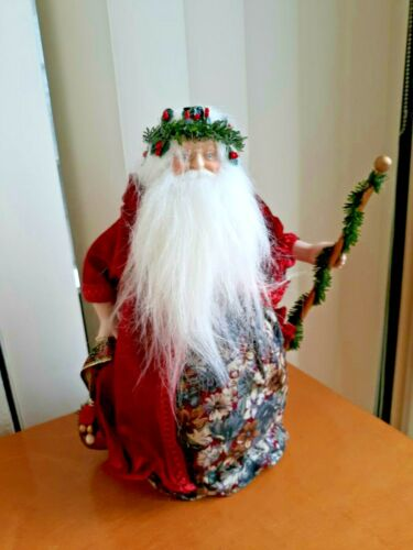 """11"""" Santa Tree Topper Old World Victorian Father Christmas Cow/Jingle Bell"""