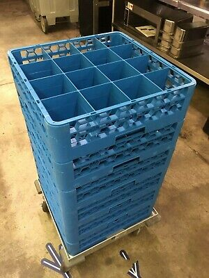 Lot Of 13 Commercial Dishwasher Racks Plus Dolly