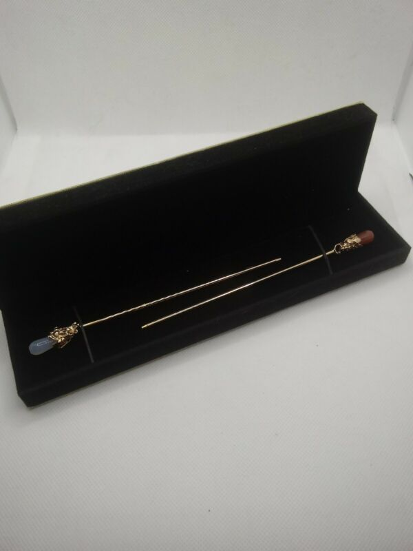Vintage Long Gold Tone Gemstone Hatpins  With Box