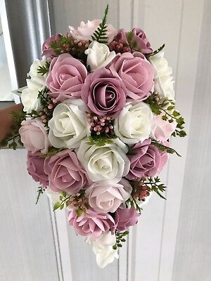 Wedding Flowers Ivory/Dusky, Rose and Baby Pinks, Greenery natural look