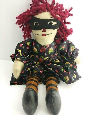 "VTG 14"" Handmade Raggedy Ann Doll Fabric Clothing Dress Halloween Costume (5D1)"