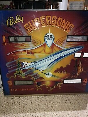 BALLY Supersonic Pinball Machine Original Backglass Great