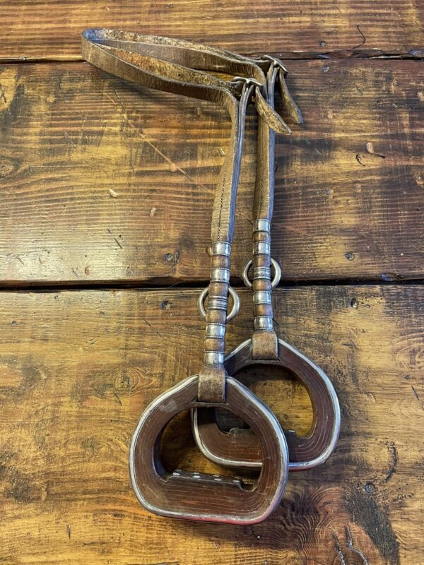 Vintage Sterling Silver (.800) Stirrups Western Cowboy Old Antique Leather RARE