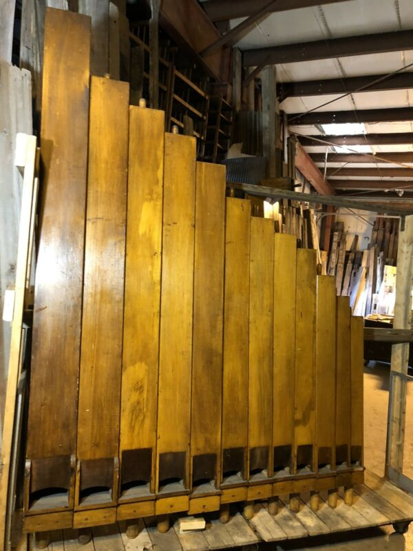 Rare Antique Wooden Pipe Organ Pipes 16 Course Collection 165 pcs Up To 9' Tall
