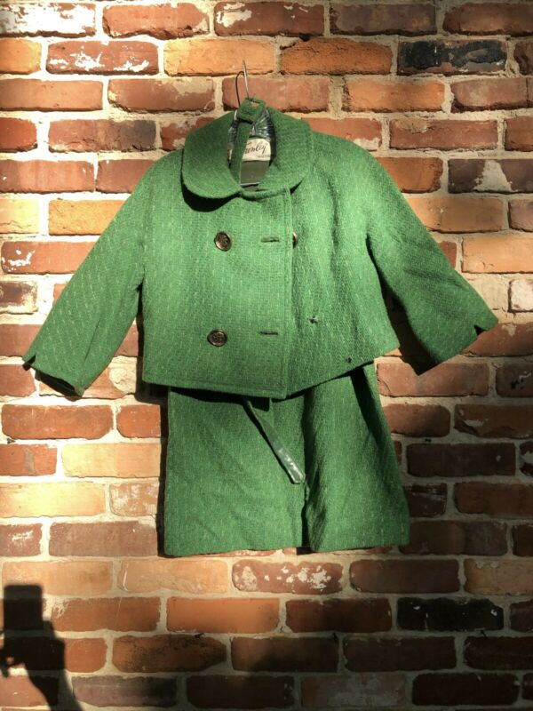 Vintage Towneys Womens Suit Green Wool 1950s 1960s.
