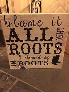"""12x12"""" solid wood rustic sign"""