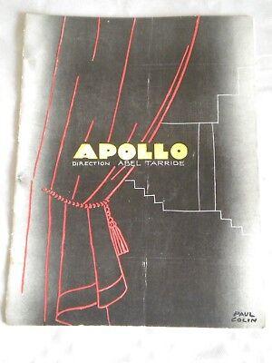 Vintage Programme Theatre Apollo 1920s Matricule 33 Art Deco