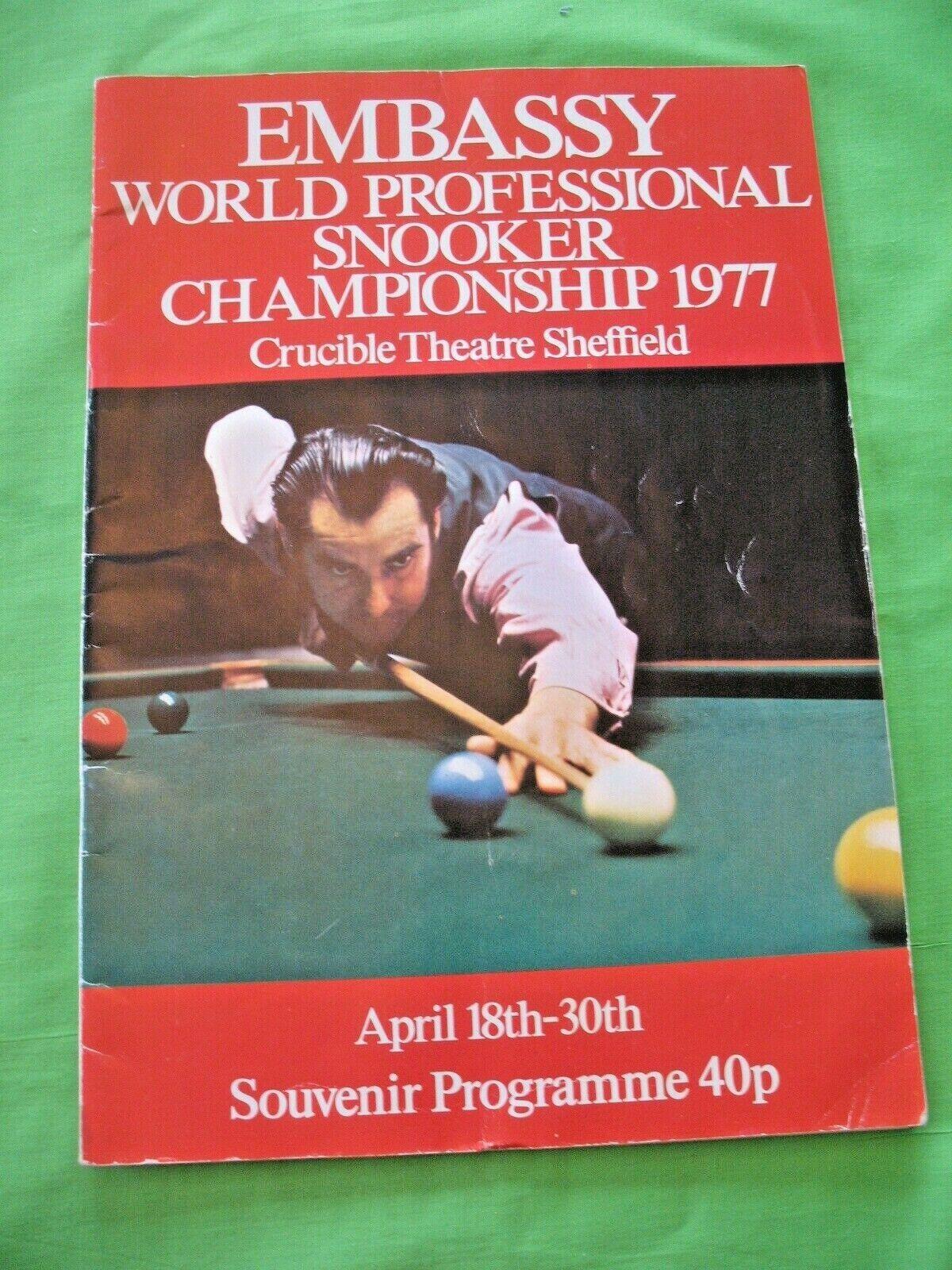 Rare old vintage 1977 EMBASSY World Professional Snooker Championship Programme