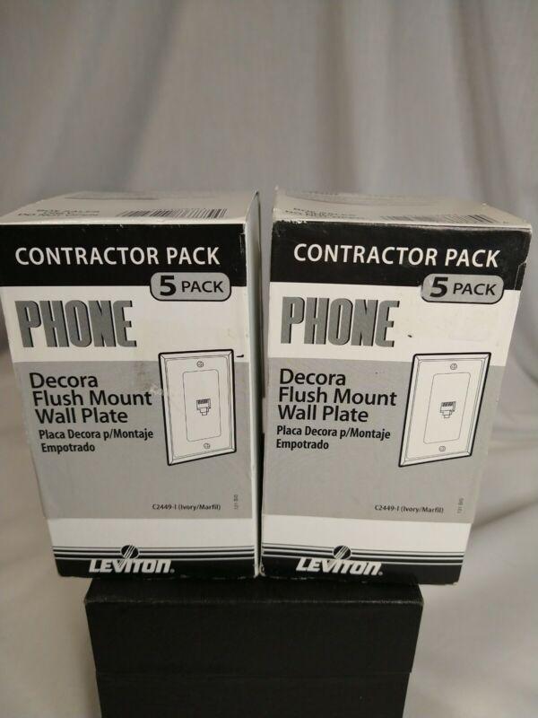 10 PC(2 boxes) Leviton Ivory Decora Phone Jack Wall Plates Telephone C2449-I