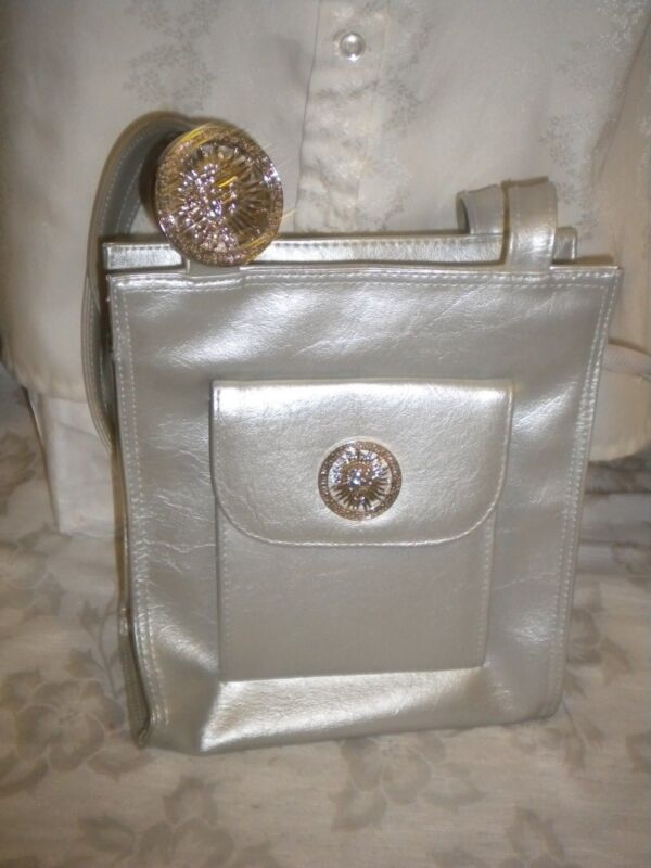 "Silver LeatherLike Small Tote Purse Metal Medusa Head 9"", 3.5"", 8"", 28"" Straps"