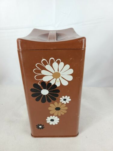 "Vintage Ransburg Canister Brown Floral Daisy 9"" Tall"