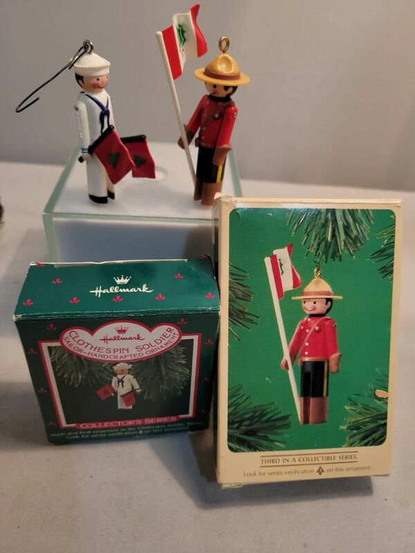 Hallmark (lot of 2) Miniature Clothespin Soldier Series Ornaments #3 #6