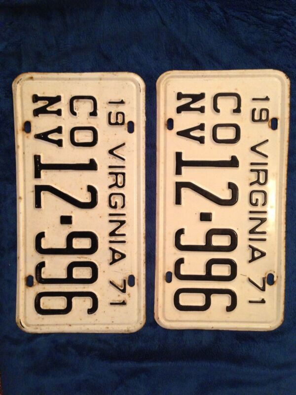 1971 Virginia Pair License Tags Plates