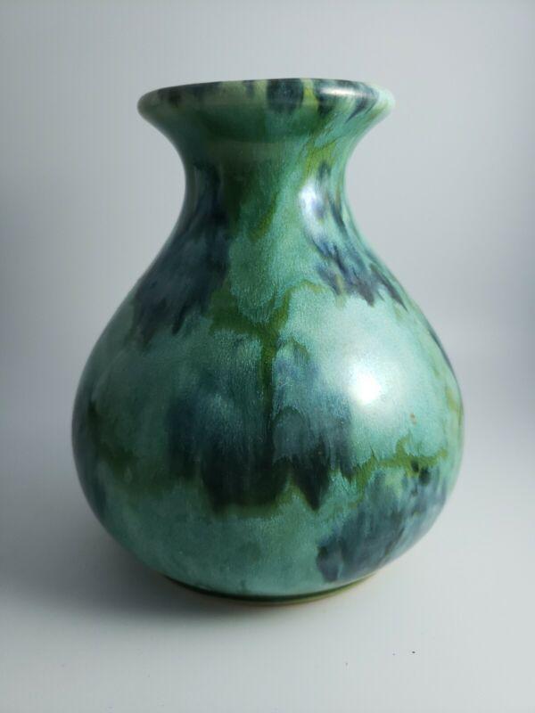 "Brush McCoy Pottery Blue Green Onyx Glaze Vase  #731  6.25"" Tall"
