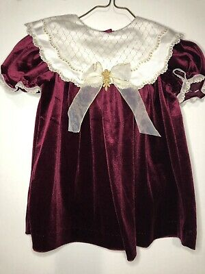 Vintage Baby Girl HOLIDAY Red Velvet Dress Size 3T