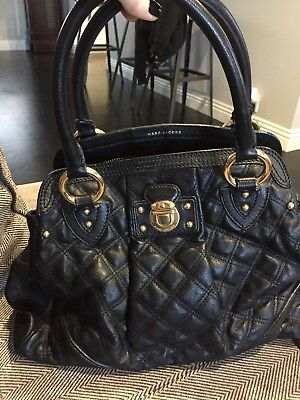 MARC JACOBS Black Quilted Leather Gold HW Stam Satchel Bag 🖤FURTHER REDUCED!!🖤