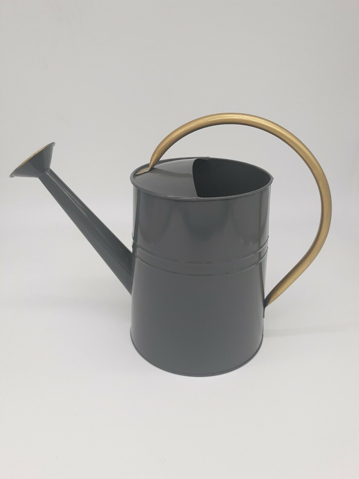 Gray Metal Adult Watering Can 1 Gallon With Gold Handle and