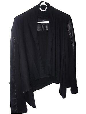 Fate Women's Jacket Black LG Knit & Faux Leather Asymmetrical Hem Offset Zipper