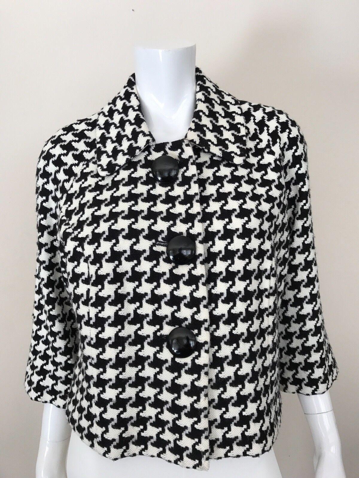 MAAKIF JACKET Black and White Houndstooth Pattern Knit Bolero Coat ...