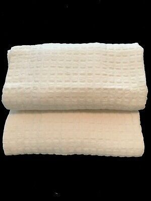 """Pottery Barn Quilted Euro Shams Pair/2 26""""x26""""  Square IVORY Cotton Squares  GUC"""