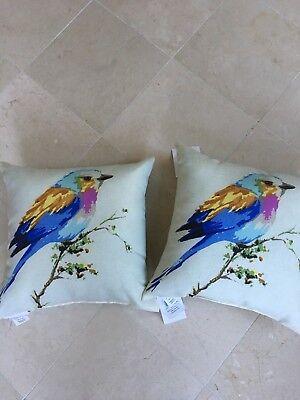 Pr Beige Indoor/Outdoor Throw Pillows Multi-Colored Bird For