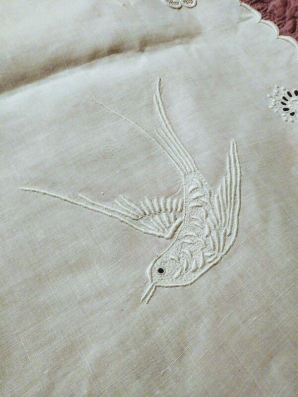 "Madeira Bird Design Cutwork, Embroidered & Drawnwork Irish Linen Tablecloth 38"""