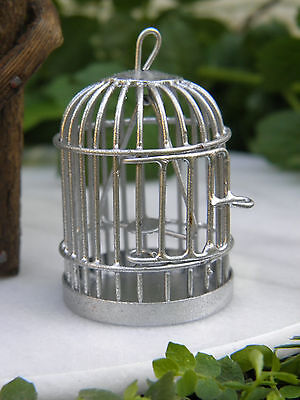 Miniature Dollhouse FAIRY GARDEN Accessories ~ Silver Metal Bird Cage ~ NEW